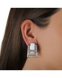 David Webb - Metallic Pavã© White Enamel Earrings - Lyst