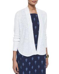Eileen Fisher | White Organic Linen/cotton Slub Cardigan | Lyst