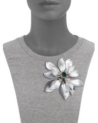 Alexis Bittar | Metallic Deco Lucite & Crystal Flower Pin/Silver | Lyst