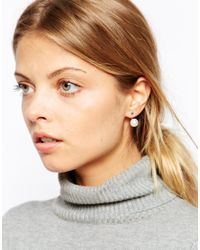 ASOS | Metallic Disc & Faux Pearl Swing Earrings | Lyst
