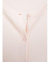 Mango - Pink Textured Knit Cardigan - Lyst