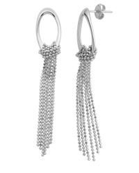 Lord & Taylor | Metallic Sterling Silver Hoop And Fringe Earrings | Lyst