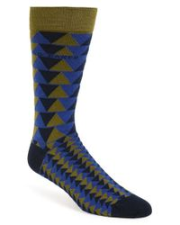 Ted Baker | Blue 'katzon' Geometric Pattern Organic Cotton Blend Socks for Men | Lyst