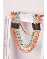 Missguided | Multicolor Chunky Layered Chain Necklace Neon | Lyst