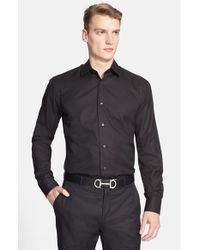 Ferragamo | Black Trim Fit Gancini Jacquard Sport Shirt for Men | Lyst