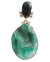 Federica Rettore | Green Emerald And Diamond Drop Earrings | Lyst