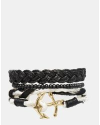 ASOS | Black Double Wrap Leather Anchor Bracelet Pack for Men | Lyst