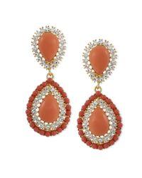 Kenneth Jay Lane | Orange Coral Teardrop Clip Earring | Lyst