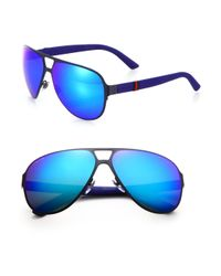Gucci - Blue Metal Navigator Sunglasses for Men - Lyst