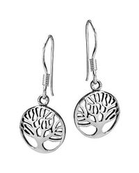 Aeravida | Metallic Cute Rare Branches Tree Of Life Sterling Silver Earrings | Lyst
