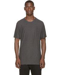 T By Alexander Wang - Gray Charcoal Pilled Silk T_shirt for Men - Lyst