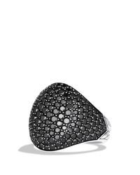 David Yurman | Metallic Pavé Oval Ring With Black Diamonds for Men | Lyst