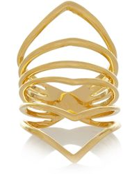Arme De L'Amour | Metallic Reverse Chevron Gold-Plated Ring | Lyst