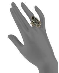 Oscar de la Renta   Metallic Pear Crystal Cocktail Ring   Lyst
