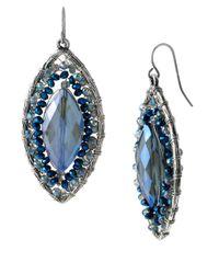 Kenneth Cole - Blue Silver-Tone Beaded Oval Drop Earrings - Lyst