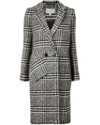 Carven - Black Double Breasted Plaid Coat - Lyst