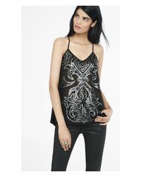 Express - Black Sequin Scroll Embellished T-back Cami - Lyst