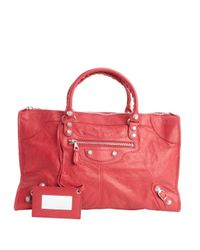 Balenciaga - Red Rose Distressed Leather Giant Work Large Top Handle Bag - Lyst