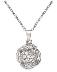 Macy's - Metallic Diamond Love Knot Pendant Necklace In Sterling Silver (1/10 Ct. T.w.) - Lyst