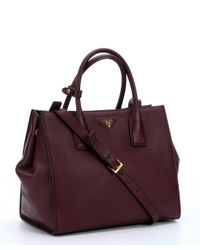 Prada - Purple Burgundy Leather Logo Stamp Convertible Top Handle Bag - Lyst