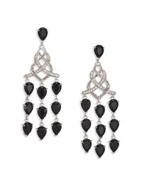 John Hardy | Classic Chain Black Chalcedony, Diamond & Sterling Silver Braided Chandelier Earrings | Lyst