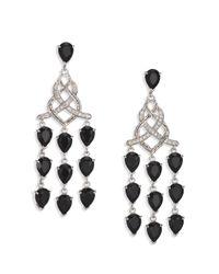 John Hardy - Classic Chain Black Chalcedony, Diamond & Sterling Silver Braided Chandelier Earrings - Lyst