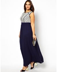 Little Mistress   Blue Lace Bodice Maxi Dress   Lyst