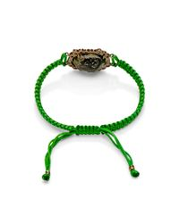 Kimberly Mcdonald - One Of A Kind Light Geode and Irregular Diamond On Kelly Green Macrame Bracelet - Lyst