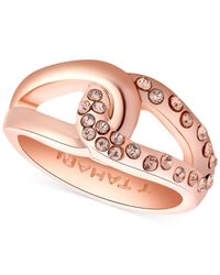 Tahari | Pink T Rose Gold-Tone And Crystal Knot Band Ring | Lyst