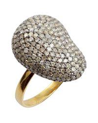 Amrapali - Metallic Pave Diamond Curved Face Ring - Lyst