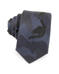 Valentino | Blue Camouflage Silk Narrow Tie for Men | Lyst