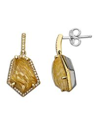 Lord & Taylor | Metallic Rutilated Quartz And Diamond Accented Earring In Sterling Silver With 14k Yellow Gold | Lyst