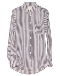 Band of Outsiders - White Striped Silk Crepe Top - Lyst