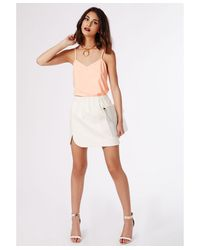 Missguided - Natural Alys V-Neck Cami Top Nude - Lyst