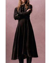 Philosophy Di Lorenzo Serafini - Black Ruffle Neck Velvet Dress - Lyst
