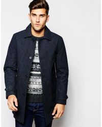 Esprit Dogtooth Wool Trench Coat in Blue for Men | Lyst