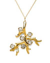 Kenneth Jay Lane - Metallic Branch Pendant Necklace - Lyst