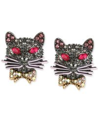 Betsey Johnson | Metallic Hematite-tone Pavé Cat Stud Earrings | Lyst