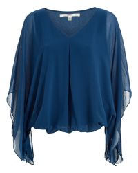 Max Studio - Blue Batwing Sleeve Top - Lyst
