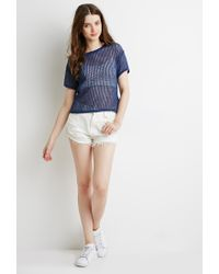 Forever 21 | Blue Boxy Open-knit Top | Lyst