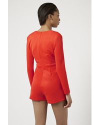 TOPSHOP - Red Long Sleeve Plunge Skort Playsuit By Rare - Lyst