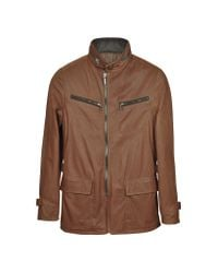 FORZIERI | Brown Leather Zippered Jacket for Men | Lyst