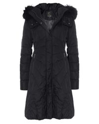 Creenstone | Black Eugenie Fur Trim Coat | Lyst