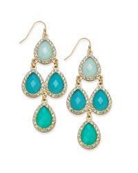 INC International Concepts - Metallic 14k Goldplated Crystal and Stone Teardrop Chandelier Earrings - Lyst