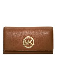MICHAEL Michael Kors | Brown Fulton Leather Carryall Wallet | Lyst