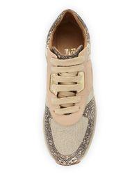 Ferragamo - Natural Morgan Linen & Leather Sneaker - Lyst