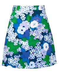 Carven | Multicolor Flower Print A-line Skirt | Lyst