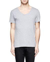 Acne Studios - Gray Scoop-neck Cotton T-shirt for Men - Lyst