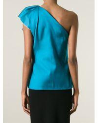 Lanvin - Blue One Shoulder Top - Lyst