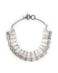 Venna - White Marble Sphere Bead Chain Link Necklace - Lyst